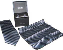 black blue stripe tie gift set