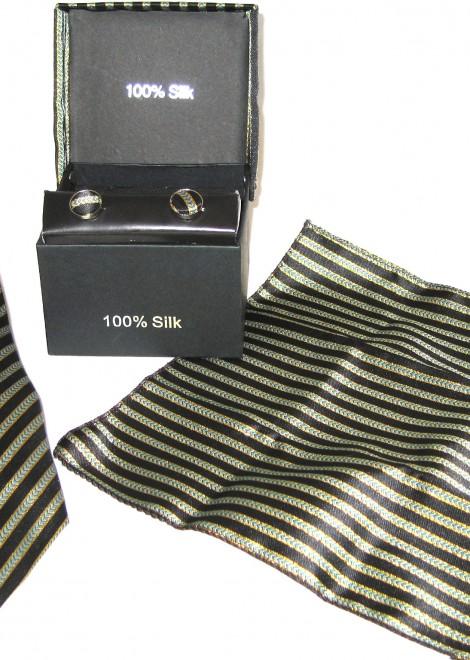 black gold stripe tie gift set