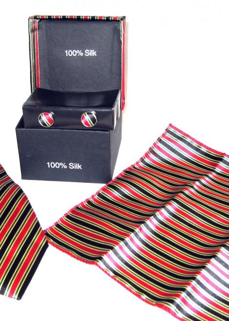 black red green stripe tie gift set