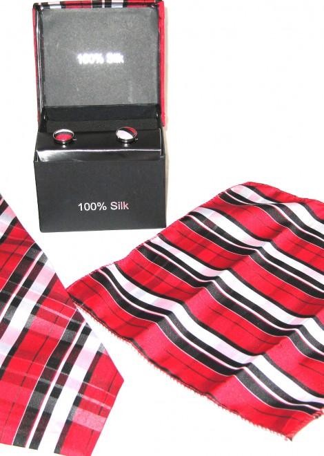 black red white plaid tie gift set