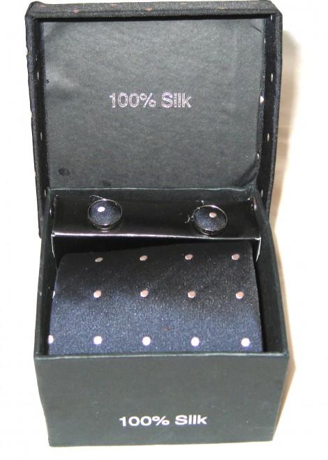 black tan dots tie