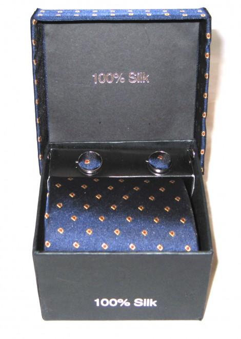 blue gold dots tie