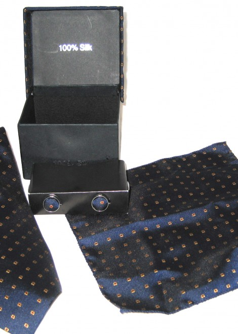 blue gold dots tie gift set