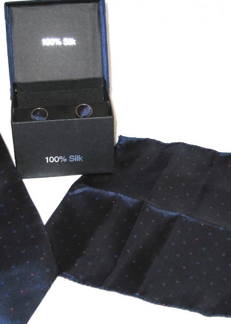 blue orange dots tie gift set