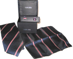 dark blue diamond red stripe tie gift set