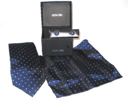 dark blue light blue diamond tie gift set