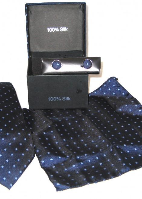 dark blue light blue diamond tie gift set
