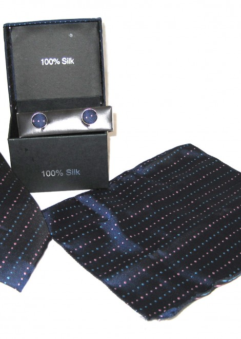 dark blue light blue red dots tie gift set