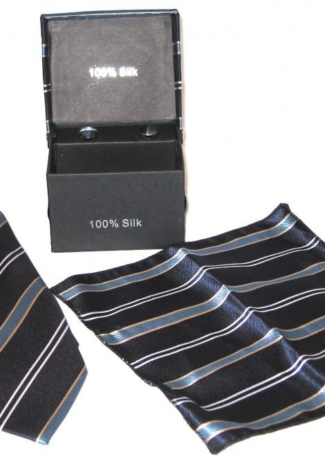 dark blue light blue tie gift set