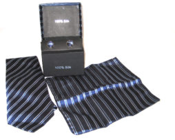 dark blue light blue white stripe tie gift set