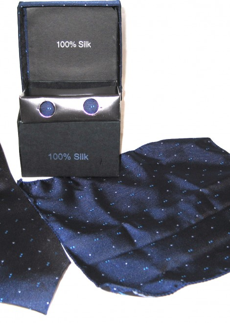 dark blue white blue double dots tie gift set