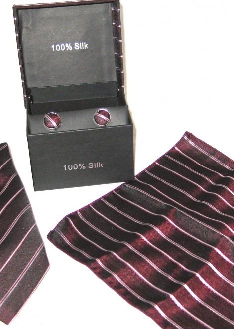 maroon stripe tie gift set