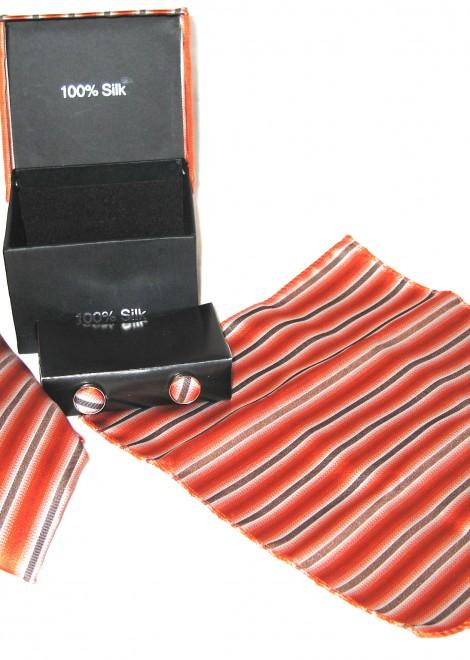 orange brown stripe tie gift set