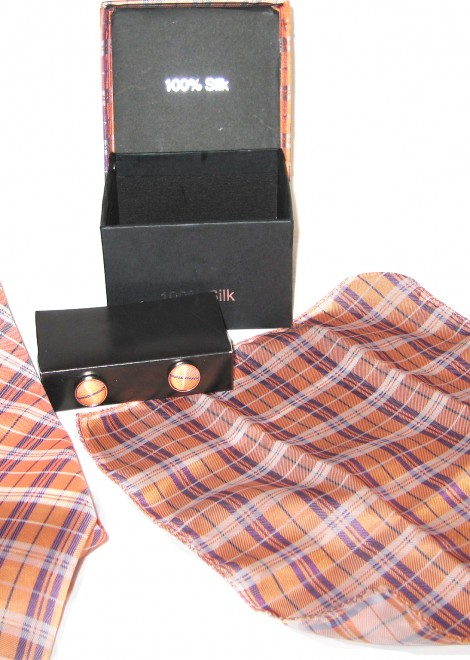 orange purple plaid tie gift set