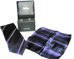 purple white stripe tie gift set