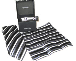 white black gray stripe tie gift set