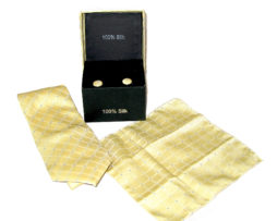 yellow plaid tie gift set