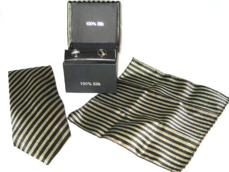 black gold stripe tie gift set