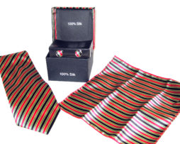 black red green stripe tie gift set