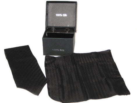 black stripe tie gift set