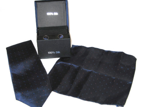 blue orange dots tie gift set
