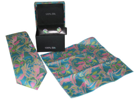 blue pink paisely tie gift set