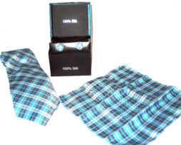 blue plaid tie gift set