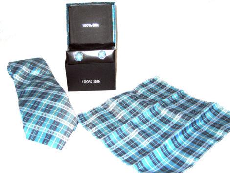 blue plaid tie gift set