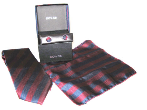 blue red stripe tie gift set