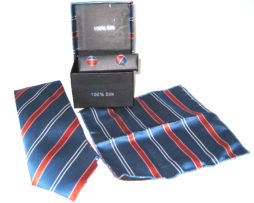 blue red white stripe tie gift set