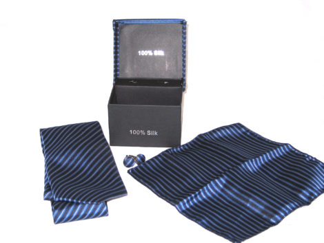 blue stripe tie gift set