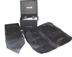 blue yellow design tie gift set