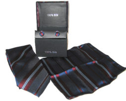 dark blue dark red stripe tie gift set