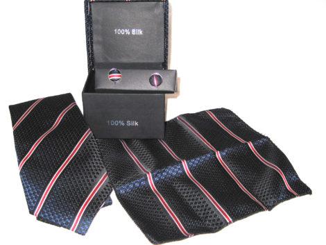 dark blue diamond red stripe tie gift set