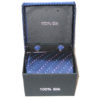 dark blue light blue red dots tie