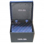 dark blue light blue red dots tie