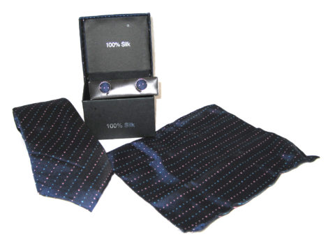dark blue light blue red dots tie gift set