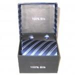 dark blue light blue white stripe tie