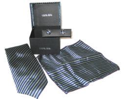 dark blue light blue yellow stripe tie gift set