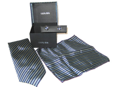 dark blue light blue yellow stripe tie gift set