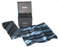 blue yellow stripe tie gift set