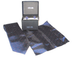 dark blue red double dot tie gift set