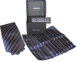dark blue red white stripe tie gift set