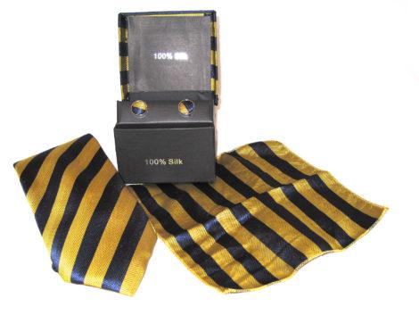 gold blue stripe tie gift set