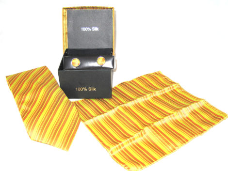 yellow orange brown stripe tie gift set