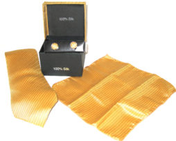 gold stripe tie gift set