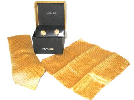 gold stripe tie gift set