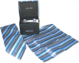light blue dark blue black stripe tie gift set