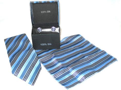 light blue dark blue black stripe tie gift set