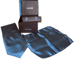 light blue dark blue stripe tie gift set
